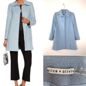 Alice+Olivia sky-blue coat.  Size SP